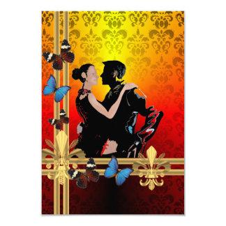 Danseurs romantiques de tango sur la damassé carton d'invitation 8,89 cm x 12,70 cm