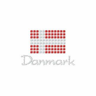 Danske Flag Herre Poloshirt - Danish Flag Embroidered Polo Shirts