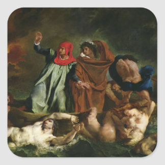 Dante  and Virgil  in the Underworld, 1822 Square Sticker