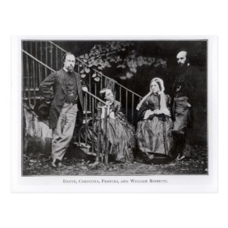 Dante, Christina, Frances and William Rossetti Postcard
