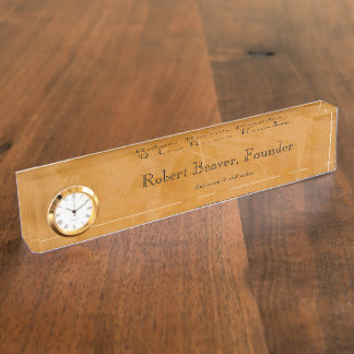 Dante Faux Finish Desk Nameplate With Clock