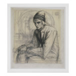 Dante in Meditation Holding a Pomegranate, c.1852 Poster