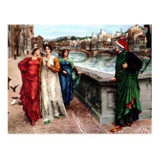 Dante meets Beatrice in Florence fine art painting Postcard