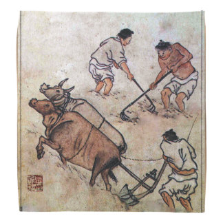 Danwon Nongali Korean rice field plowing Bandanas