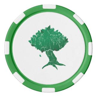 DAoC Hibernia Clay Poker Chips, Green Striped Edge Poker Chips