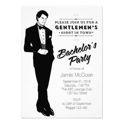 Dapper Bachelor's Party Personalized Invitations
