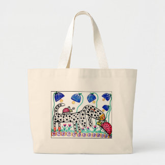 Dapple Doxie in the Bluebells Large Tote Bag