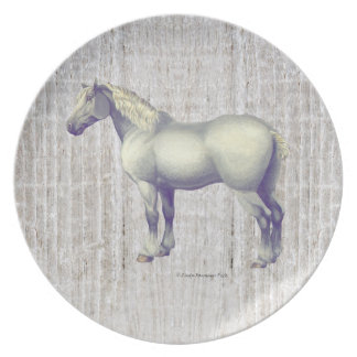 Dapple Gray Percheron Horse Plate
