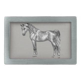 Dapple Grey Egyptian Arabian Horse Rectangular Belt Buckle