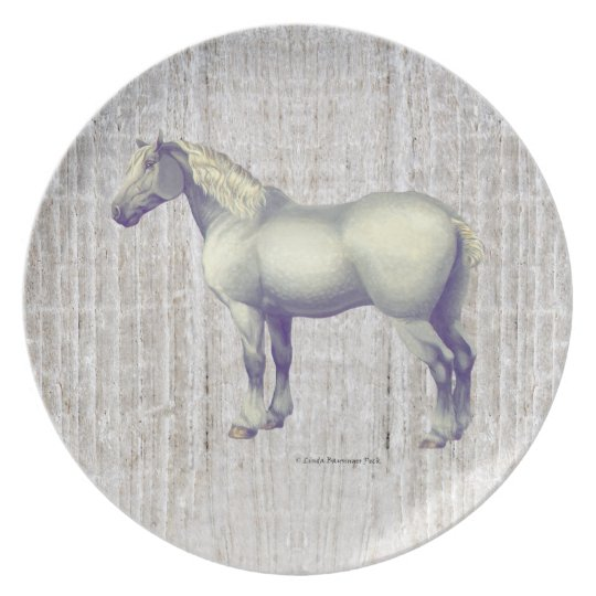 Dapple Grey Percheron Horse Plate