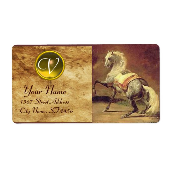 DAPPLED GREY HORSE MONOGRAM , brown gold yellow Shipping Label