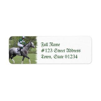 Dappled Grey Race Horse Mailing Label Return Address Label