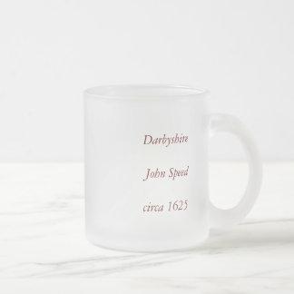 """Darbyshire"" Derbyshire County Map, England 10 Oz Frosted Glass Coffee Mug"