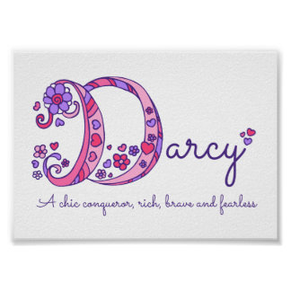 Darcy initial D doodle art name meaning Poster