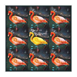 """""""Dare"""" Quote Orange Pink & Yellow Flamingos Photo Canvas Print"""