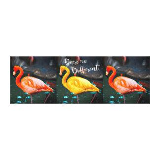 """Dare"" Quote Orange & Yellow Flamingos Trio Photo Canvas Print"
