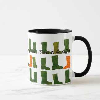'Dare to be Different' Green and Orange Boots Mug