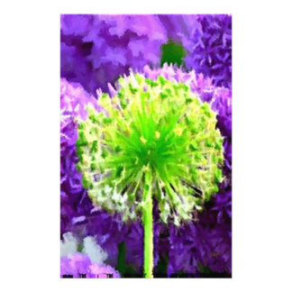 Dare to Be Different Lime Green Purple Flowers Stationery Design