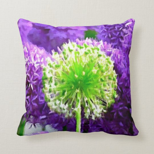 Dare to Be Different Lime Green Purple Flowers Throw Pillow