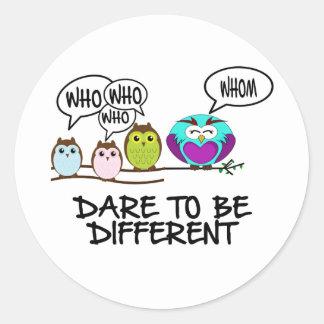 DARE TO BE DIFFERENT - OWLS ROUND STICKER