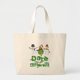 DARE TO BE DIFFERENT - SNOWMEN LARGE TOTE BAG