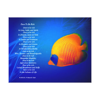 """Dare to be Rich""  Blue and Orange Fish 14x11 Canvas Print"