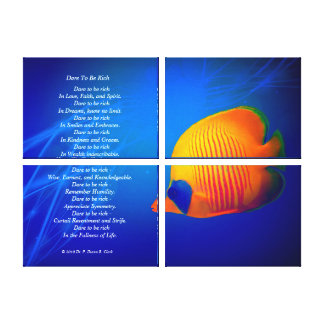 """Dare to be Rich""  Blue and Orange Fish Quad Canvas Print"