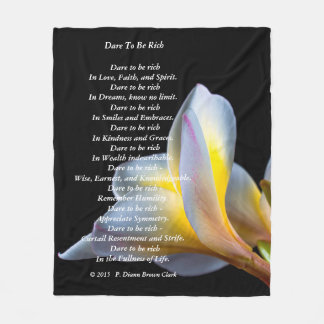 """Dare to be Rich""  White Canna Lily in White Fleece Blanket"