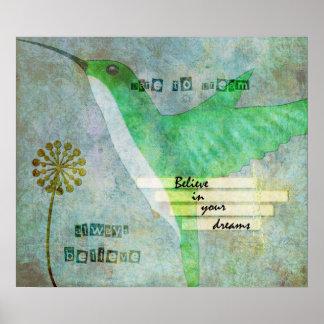 Dare to Dream Hummingbird Poster