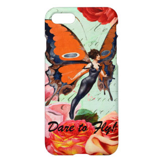 Dare to Fly 1920s Flapper Butterfly Inspirational iPhone 8/7 Case