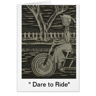 """Dare to Ride"" Linocut Woman on Bicycle Vintage Card"