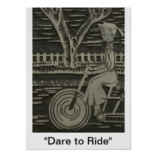 """ Dare to Ride ""Linocut  Woman on Bicycle Vintage Poster"