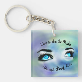 Dare to See the World...square acrylic keychain
