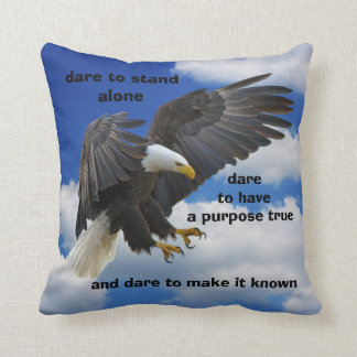 Dare to Stand Alone, American Bald Eagle Edition Throw Pillow