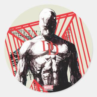 Daredevil Abstract Sketch Classic Round Sticker