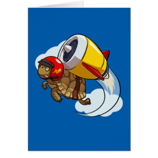 Daredevil Flying Tortoise with a Jet Pack Cartoon Card