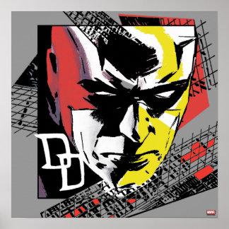Daredevil Tri-Color Scaffolding Graphic Poster