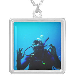 Daring Scuba Diver Silver Plated Necklace