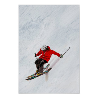 Daring Skier Flying Down a Steep Slope Poster