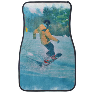 Daring Snowboarder at Ski Resort - Outdoor Sports Car Mat