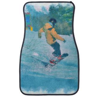 Daring Snowboarder at Snow Resort - Outdoor Sports Car Carpet