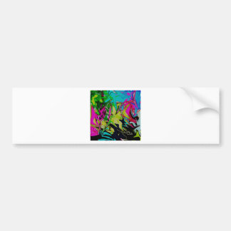 Dark Abstract Molten Color Drip Bumper Sticker