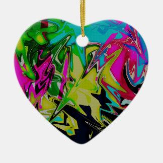 Dark Abstract Molten Color Drip Ceramic Ornament