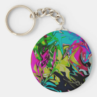 Dark Abstract Molten Color Drip Keychain