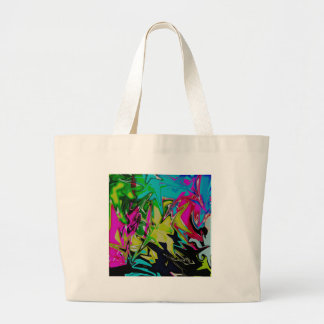 Dark Abstract Molten Color Drip Large Tote Bag