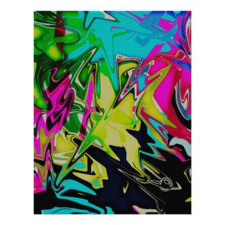 Dark Abstract Molten Color Drip Letterhead