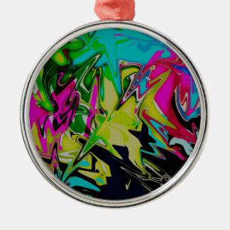 Dark Abstract Molten Color Drip Metal Ornament