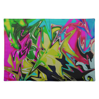 Dark Abstract Molten Color Drip Placemat