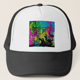 Dark Abstract Molten Color Drip Trucker Hat