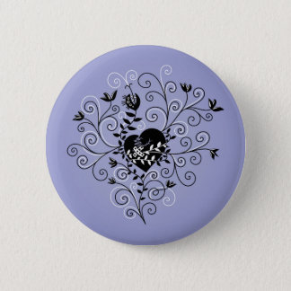 Dark Abstract Whimsical Fixed Broken Heart 2 Inch Round Button